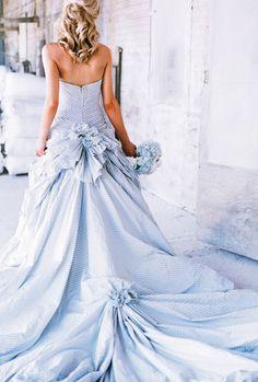 "Blue seersucker wedding dress with ruffles and gathers.  ""Libertine"" by Ian Stuart.  Photography: Joey + Jessica"