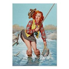 Buy Pin Up Girl, Fishing, Vintage Poster Poster in Cheap Price on m.alibaba.com