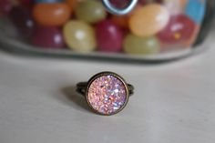A personal favorite from my Etsy shop https://www.etsy.com/listing/233664593/crystal-pink-druzy-ring