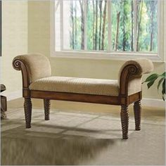 Coaster Upholstered Bench with Rolled Arms - That stately upholstered bench will make a statement in your entryway, hallway, bedroom or living room. A beautifully detailed wood base is accented with turned post legs and curved armrests with detailed carvings. A cushioned seat is upholstered in a neutral fabric that continues on the rolled arms for plush comfort.