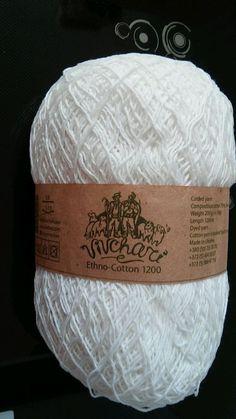 1 skein ethno cotton 70% cotton 30% linen yarn 200gr 1200m white #vivchari