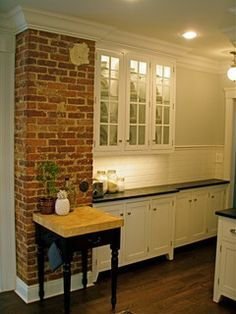 exposed brick chimney in kitchen | For the Home | Pinterest