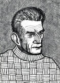 """Samuel Beckett"", pencil 8B on paper, 29,7 x 42 cm .......... サミュエル・ベケット Samuel Beckett, Pencil, Portraits, Paper, Head Shots, Portrait Photography, Portrait Paintings, Headshot Photography, Portrait"