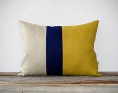 As seen in HGTV Magazine - Color Block Pillow Cover in Mustard Yellow, Navy & Natural Linen by JillianReneDecor Modern Home Decor Honey Gold - Dream house - Linen Pillows, Decorative Pillows, Throw Pillows, Cushions, Yellow Pillows, Colorful Pillows, Pillow Inserts, Pillow Covers, Pillow Set