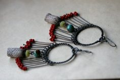 Floral Pavone earrings Rustic Darkened Metal Bohemian by Tribalis, $40.00