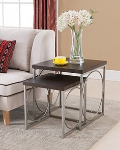 Kings Brand 2-Piece Chrome With Walnut Finish Wood Nesting Tables Set. These two nesting tables are styled for today's home. The rich durable wood finish will impress. The smaller table can be pulled out for entertaining or tucked away when space is limited. Dimension: Large table... more details available at https://furniture.bestselleroutlets.com/accent-furniture/nesting-tables/product-review-for-kings-brand-furniture-2-piece-wood-nesting-tables-set-chromewalnut/