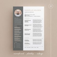 Danielle Resume/CV Template | Word | Photoshop | InDesign | Professional Resume Design | Cover Letter | Instant Download #etsy #resume #cvtemplate #girl