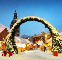 Mercado de Navidad en Riga, Letonia |