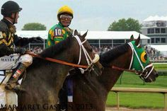 Jockeys Gary Stevens and Mike Smith after a triple crown race 2013. Thanks Margaret for sharing !!!