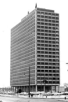 The Pavilion apartments, Lafayette Park, Detroit, by Mies van der Rohe nears completion in 1959.