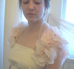 Bridal Bolero Shrug with floral sleeves embellished with shells. Beach wedding must.. $165.00, via Etsy.