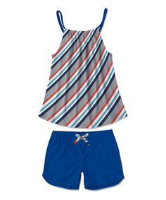 Gray & Navy Stripe Tank & Navy Shorts - Toddler & Girls