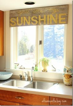 Great DIY for reclaimed wood! Window sunshine (good morning beautiful instead)