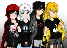 This is so cute! RWBY dressed in their respective RT store merchandise (shirts and beanies.)