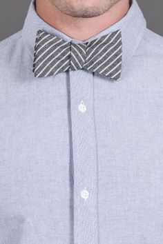 The Railroad Stripe Bowtie. I love a man in a bow tie! Tweed Vest, Jack Threads, Suit Accessories, Well Dressed Men, Mode Style, Everyday Fashion, Cool Shirts, What To Wear, Stripes