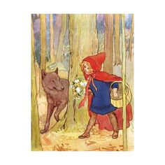 SurLaLune Fairy Tales: Illustrations of Little Red Riding Hood ❤ liked on Polyvore featuring backgrounds