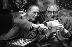 Henri Cartier-Bresson - French artist Marcel Duchamp and Man Ray, (at Man Ray's home). Paris. 1968.