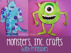 Monsters Inc. Mike & Sully Printable Crafts - FREE - from LearnCreateLove.com