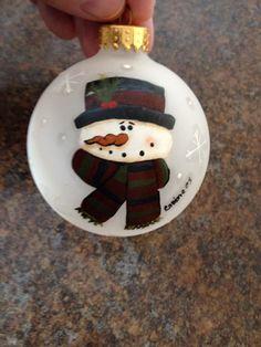 Snowman Ornament. Tole painting.