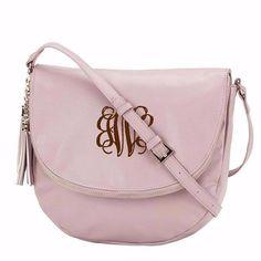 879778854298 Monogrammed Crossbody Handbag Sienna Purse Tassel Bag - Blush Pink.  Personalized ...