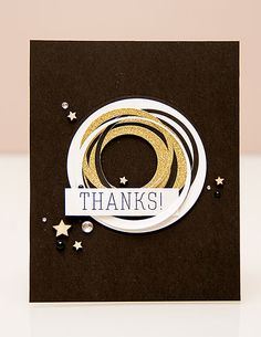 circle die cut card by Yana Silhouette Cameo Cards, Good Luck Cards, Scrap Busters, Thanks Card, Die Cut Cards, Punch Art, Creative Cards, Geometric Shapes, Thank You Cards