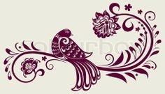 Fancy Bird Tattoos | ... vector of 'vector vintage floral background with decorative bird