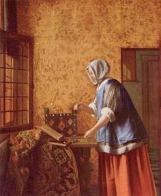 Woman Weighing Gold Coins Metal Print by Hooch Pieter de. All metal prints are professionally printed, packaged, and shipped within 3 - 4 business days and delivered ready-to-hang on your wall. Johannes Vermeer, Rembrandt, Delft, Pieter De Hooch, Rotterdam, Dutch Golden Age, Baroque Art, Dutch Painters, Classic Paintings