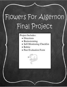 Flowers For Algernon Project Flowers For Algernon, New Television, Evaluation Form, Self Monitoring, Teaching English, Pitch, Textbook, Middle School, Texts