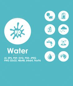 It is a set of Water simple web icons.  - Fully editable vector file saved as EPS10 (for image editing use the Adobe Illustrator