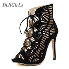 Hot sales Summer Style Peep Toe Sandals High Heel Pumps Sandals Back Zipper Boots Women Sexy Shoes Black Roman Sandals 35-40