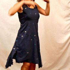 blue lace stretchy Tango dress with silver and blue glitter rectangles by PamelaCreazioni on Etsy, €80.00