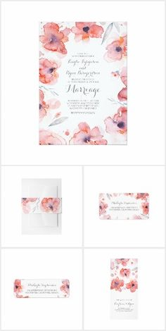 Floral Watercolor Wreath Cute Wedding Invitation Collection | pink, coral