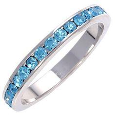 Darian: Stackable Aquamarine Ice CZ Birthstone Eternity Band Ring - Trustmark Jewelers