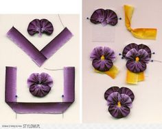 Pretty ombre ribbon pansies.  AOK