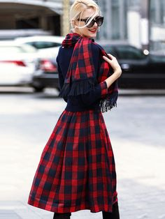 SheIn offers Red Round Neck Long Sleeve Knit Pockets Scarf Dress & more to fit your fashionable needs. Latest Street Fashion, Fashion 2020, Net Fashion, Bohemian Chic Fashion, Vintage Fashion, Scottish Dress, Tartan Fashion, Look Here, Scarf Dress
