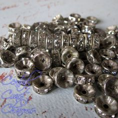 6mm Aged Silver Czech Glass Rhinestone Rondelle Spacers - 50 pcs - Straight Edge - Channel Set - Vintage Shabby Style - Central Coast Charms
