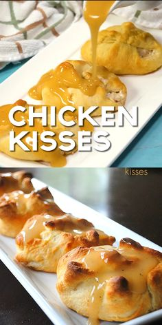 These Chicken Kisses are a family favorite! Pockets of chicken served with gravy Craving comfort food? These Chicken Kisses are a family favorite! Pockets of chicken served with gravy Crescent Roll Recipes, Good Food, Yummy Food, Tasty, Clean Eating Snacks, Appetizer Recipes, Meat Appetizers, Supper Recipes, Food Videos
