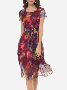 Hollow Out Printed Bowknot Captivating Round Neck Skater-Dress