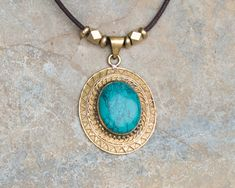 Turquoise Pendant Necklace // Long Turquoise Necklace // Retro Turquoise Necklace // Brass Pendant Necklace // Turquoise Charm Necklace  #necklace #pendant #jewelry