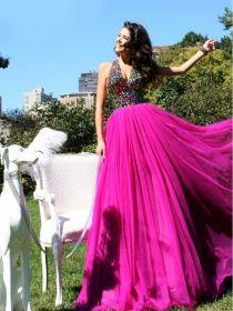 Charming Fuchsia A-line Halter Neckline Floor Length Rhinestones Prom Dress