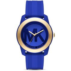 Michael Kors Preston Watch, 43mm ($205) ❤ liked on Polyvore featuring jewelry, watches, blue, blue watches, silicone watches, michael kors, silicon watches and michael kors jewelry