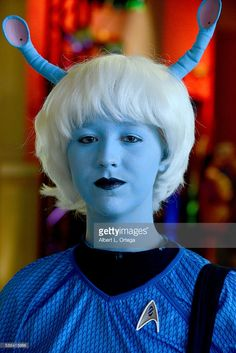 Cosplayer Whitney Schmidt dressed as an Andorian on day 3 of Creation Entertainment's Official Star Trek 50th Anniversary Convention at the Rio Hotel & Casino on August 5, 2016 in Las Vegas, Nevada.
