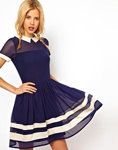 £32 Enlarge ASOS Skater Dress In Mesh With Contrast Detail And Short Sleeves