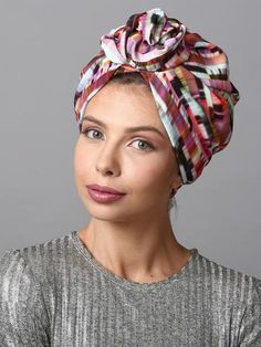 Ladies Turban in Pink Print