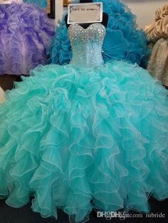 2015 High Quality Quinceanera Dresses Sweetheart Organza Mint Green Cascading Ruffles Ball Gown Sequins Lace Up Floor-Length Girls Dresses Online with $117.27/Piece on Iubride's Store | DHgate.com