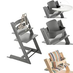 Stokke Tripp Trapp Chair W Baby Set, Stokke Tray U0026 Signature Stripe Cushion  (Storm