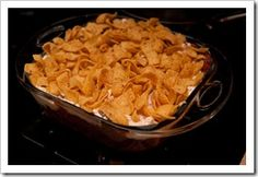 Baked Frito Pie (This one has sour cream, never had that on a Frito Pie before, but I'll bet it's yummy.)