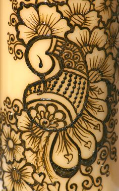 Henna Peacock Candle, Yellow Pillar Candle, Intricate Henna Design Henna Art, Henna Mehndi, Mehendi, Mehndi Art, Hand Henna, Mehandi Designs, Henna Tattoo Designs, Henna Peacock, Pillar Candles