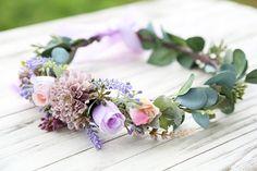 Lavender purple pink flower crown, lavender hairpiece, wildflower crown, lavender hair wreath, rustic flower crown, purple flower crown