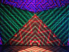 Missoni is presenting an installation called Zigzagging this Milan Design Week. The brands entire showroom is illuminated with its famous zig zag patterning, immersing viewers with moving colour and light. Immersive Experience, Scenic Design, Ballet, Public Art, Missoni, Zig Zag, Psychedelic, Sculpture Art, Tropical